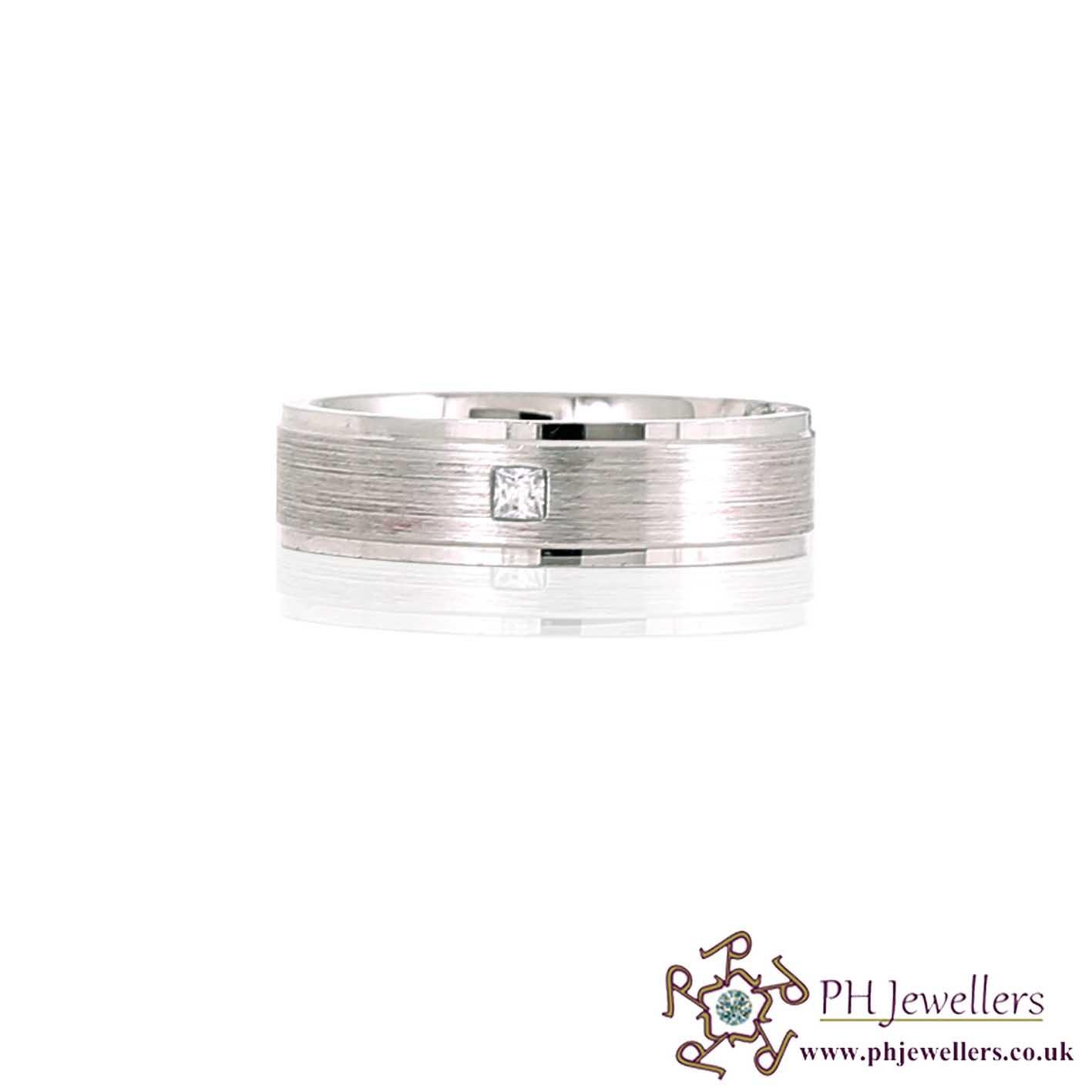 925 Sterling Silver Size S Rhodium Ring CZ SIWB13