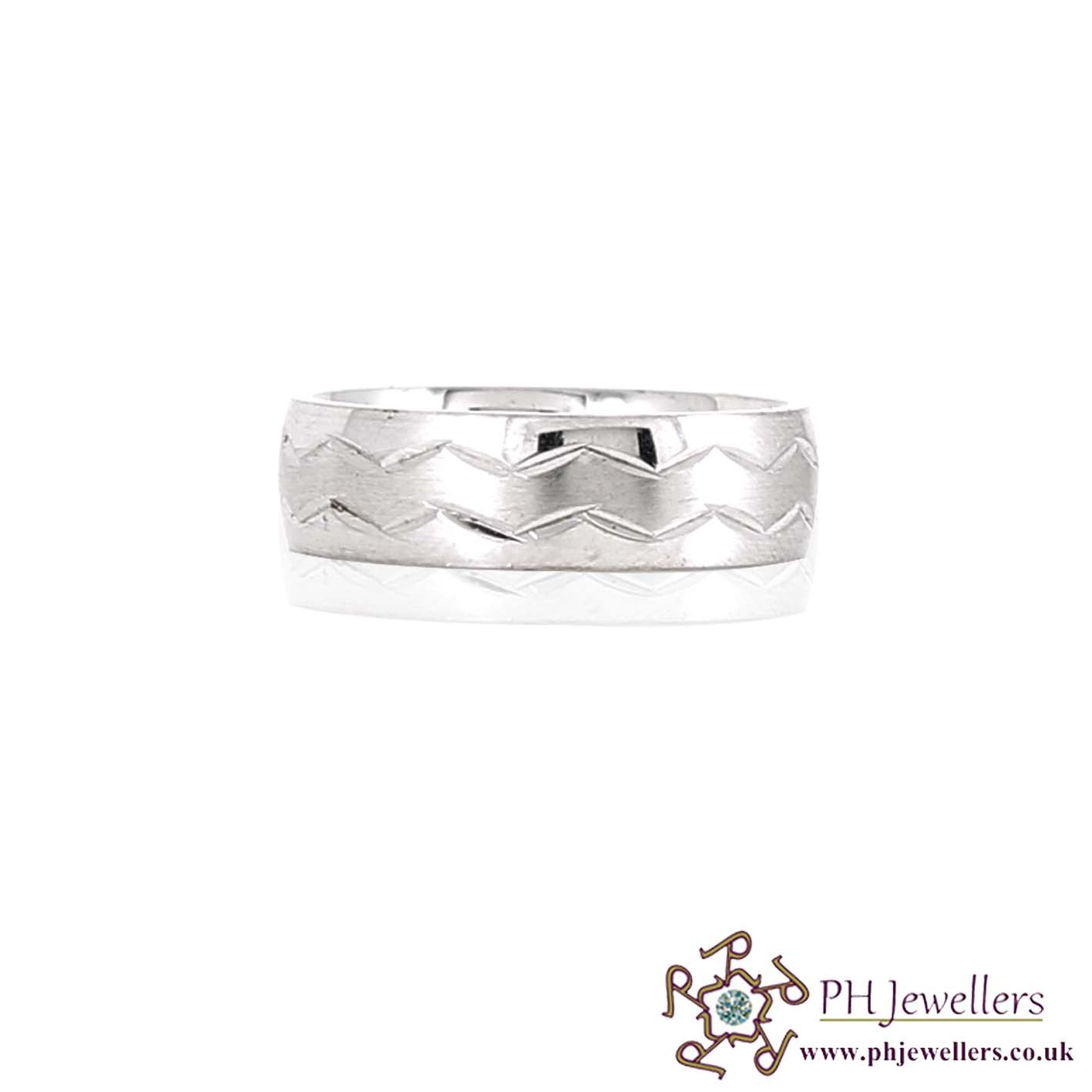 925 Sterling Silver Size P Rhodium Ring SIWB8