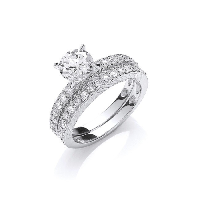 925 Sterling Silver Rhodium Plated Bridal Ring Set