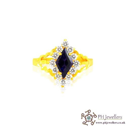 22CT 916 Hallmark Yellow Gold Size M,N Diamond Purple Ring CZ SR10