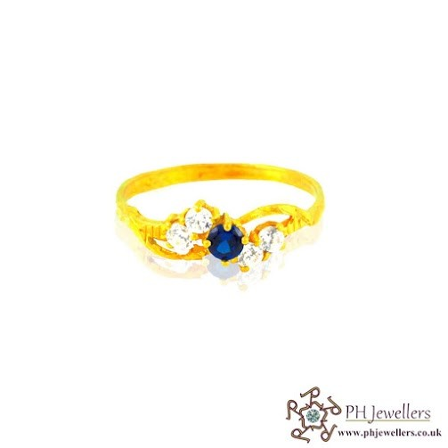 22CT 916 Hallmark Yellow Gold Size J1/2,k Blue Ring CZ SR11