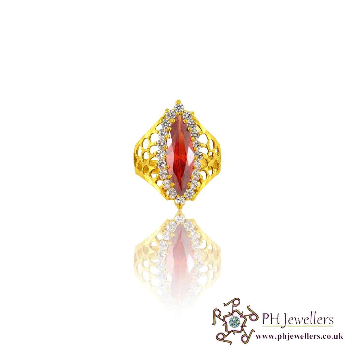 22ct 916 Yellow Gold Hallmark Marquise Garnet Ring CZ Size P 1/2,Q,R SR114