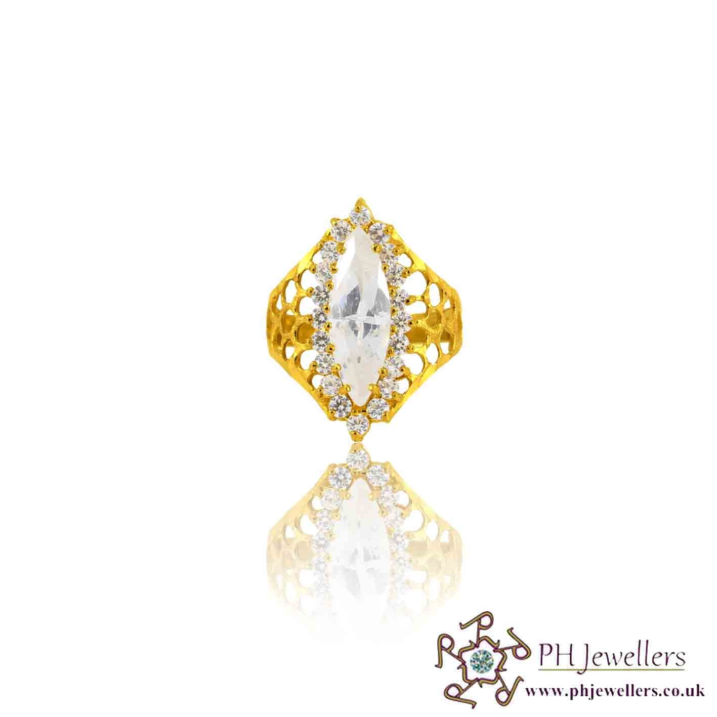 22ct 916 Yellow Gold Hallmark Marquise Ring CZ Size P ,Q,R SR116