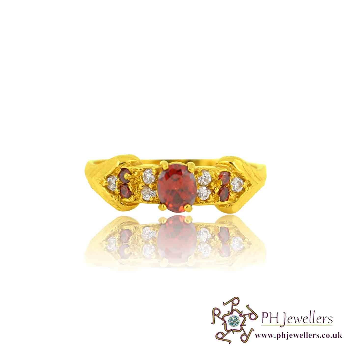22ct 916 Yellow Gold Hallmark  Garnet Ring CZ Size N,O SR118