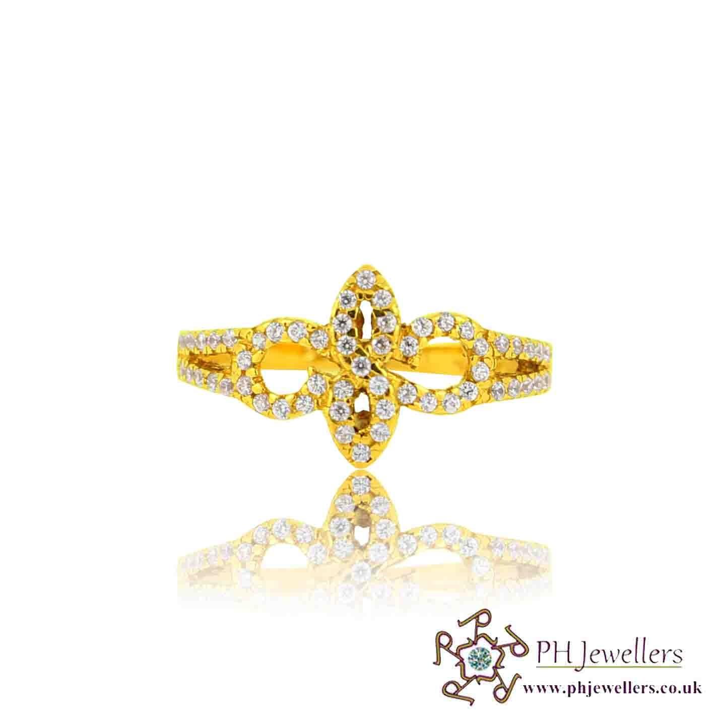 22ct 916 Yellow Gold Hallmark  Ring CZ Size P ,O SR119