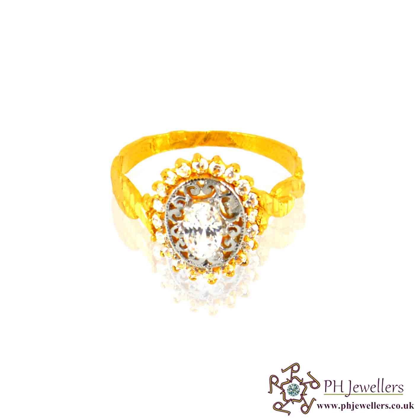 22ct 916 Hallmark Yellow Gold Oval Size O 1/2,P Ring CZ SR12