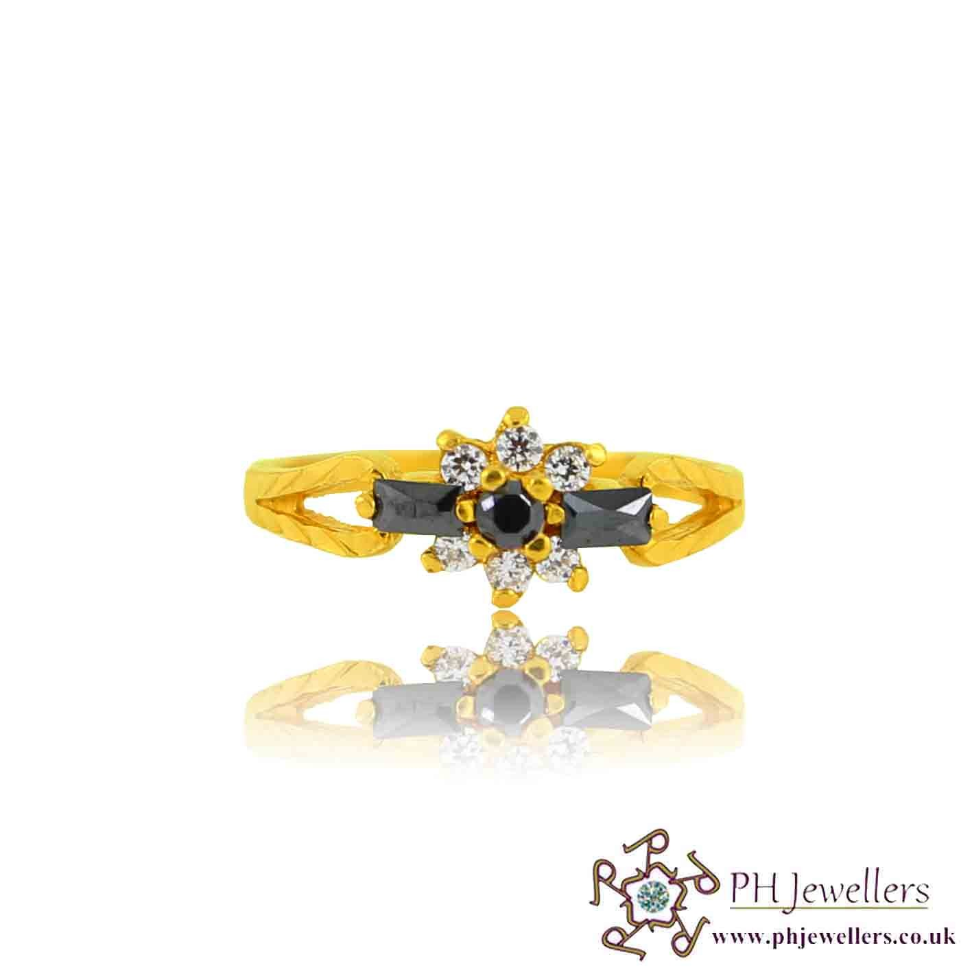 22ct 916 Yellow Gold Hallmark Black Ring CZ Size L SR121