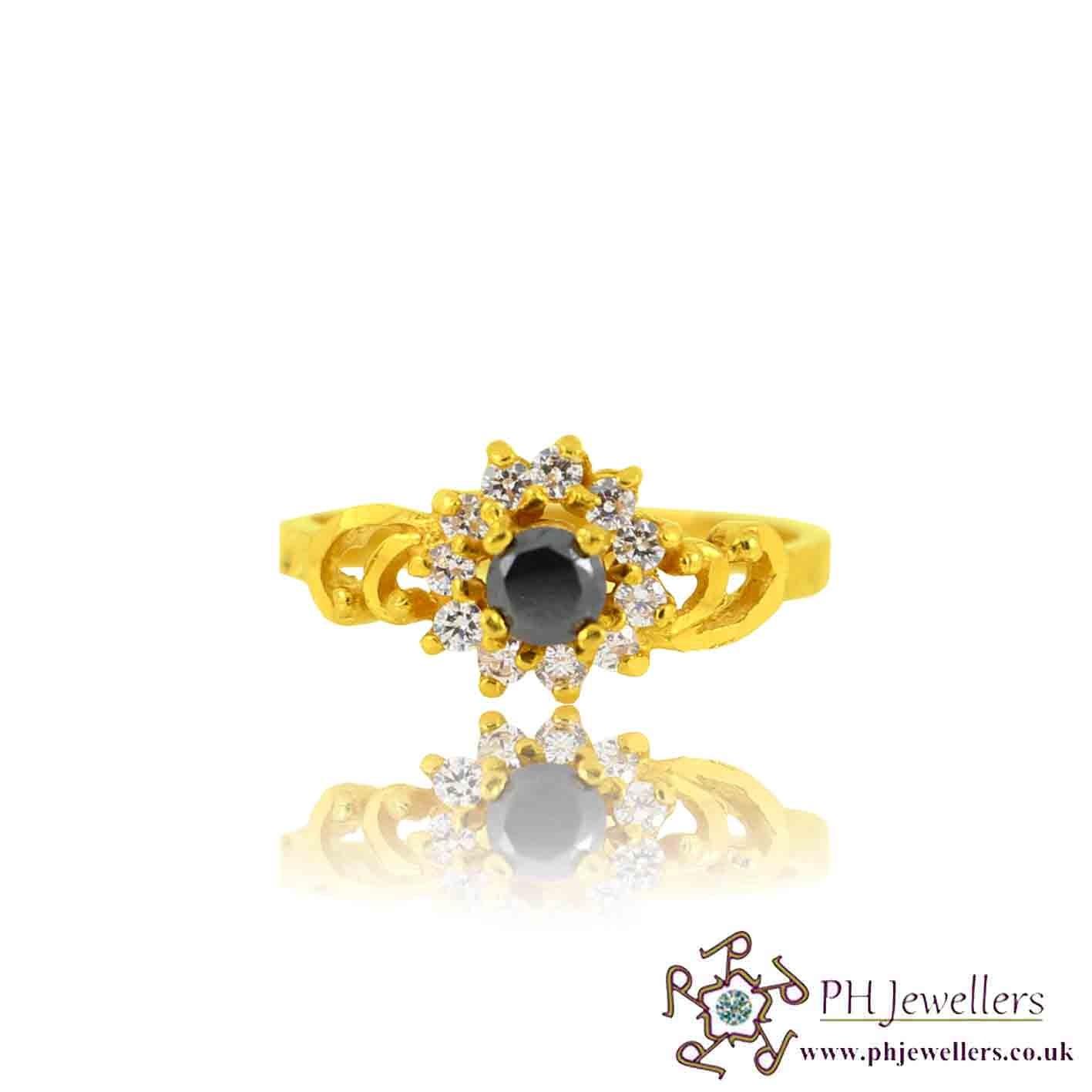 22ct 916 Yellow Gold Hallmark black Ring CZ Size L,M  SR122