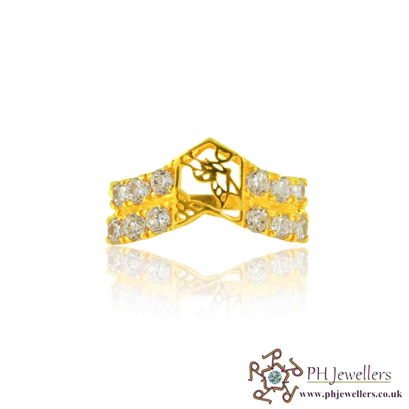 22ct 916 Yellow Gold Hallmark wishbone Ring CZ Size P  SR123