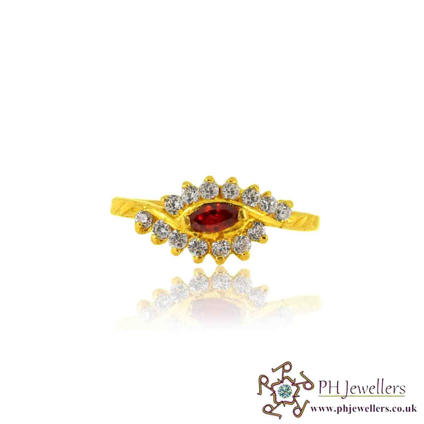 22ct 916 Yellow Gold Hallmark Garnet Ring CZ Size L 1/2 SR124