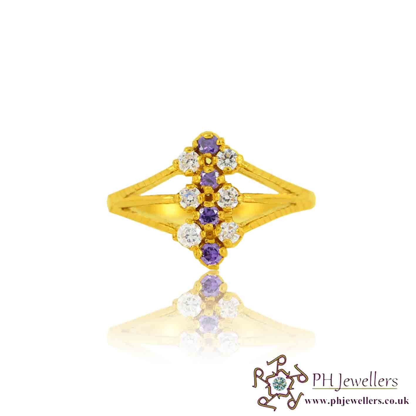 22ct 916 Yellow Gold Hallmark Amethyst  Ring CZ Size O SR125