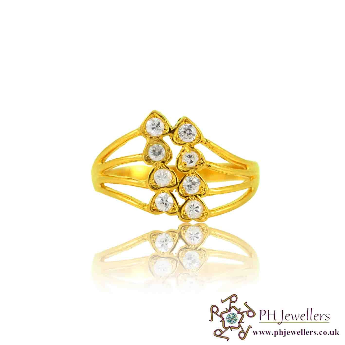 22ct 916 Yellow Gold Hallmark Heart Ring CZ Size O,P SR127