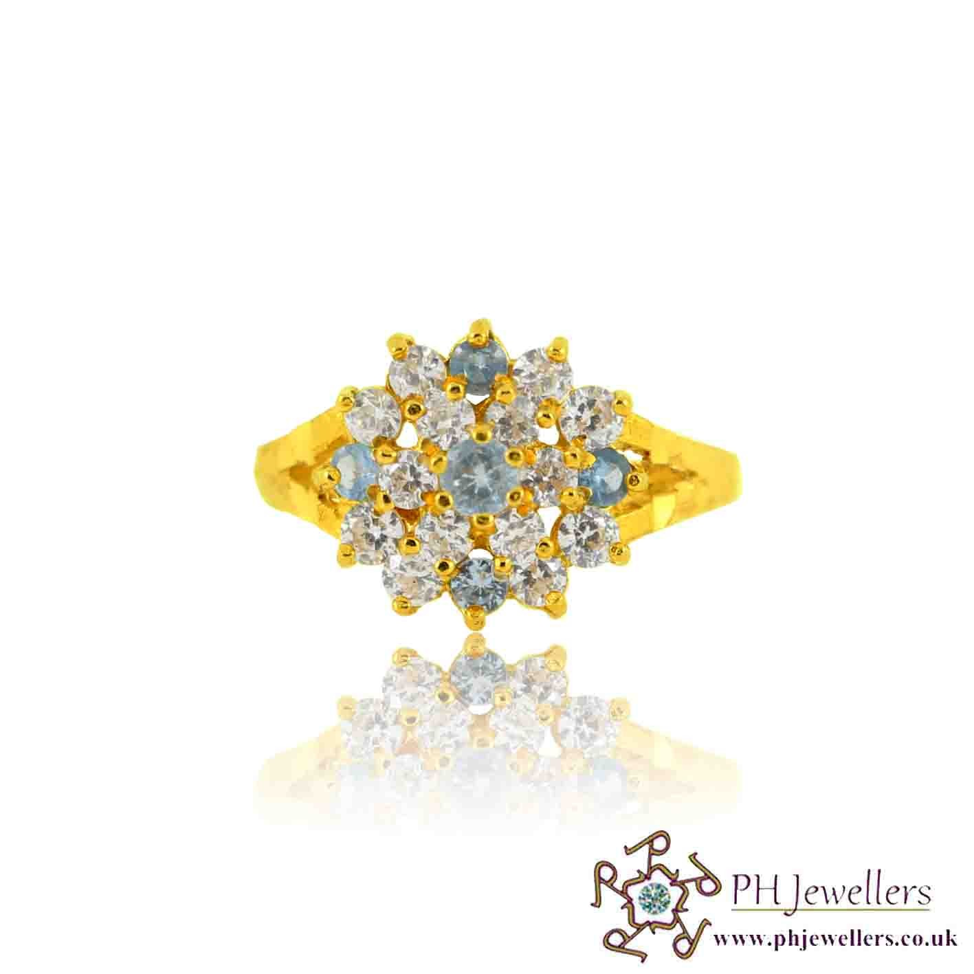 22ct 916 Yellow Gold Hallmark Topaz Ring CZ Size N 1/2 SR128