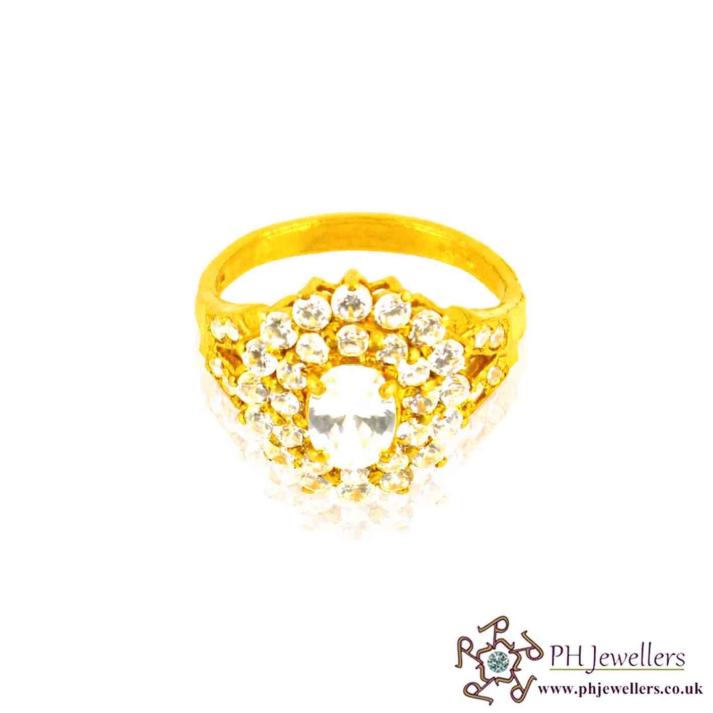 22ct 916 Hallmark Yellow Gold Oval Size L,M,N Ring CZ SR13