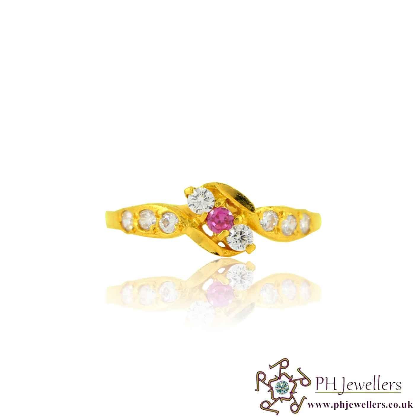 22ct 916 Yellow Gold Hallmark Ruby Ring CZ Size J 1/2 SR131