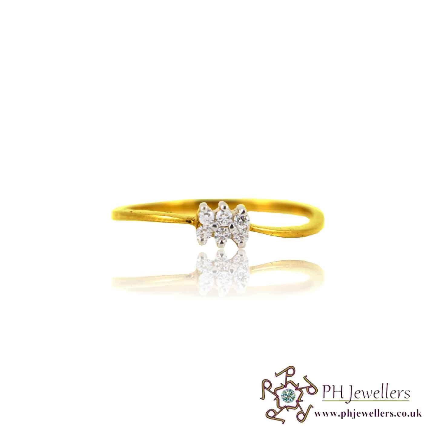 22ct 916 Yellow Gold Hallmark Ring CZ Size M SR132