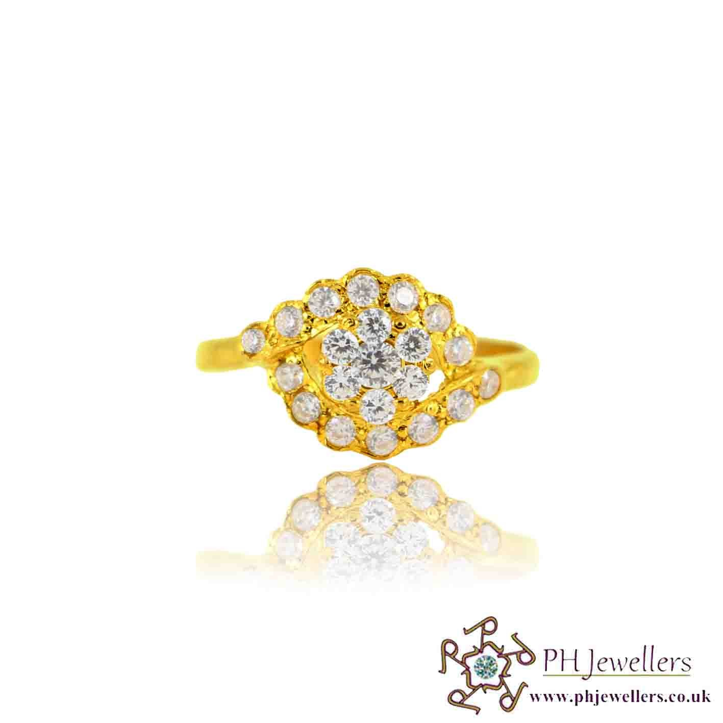 22ct 916 Yellow Gold Hallmark  Ring CZ Size I SR135