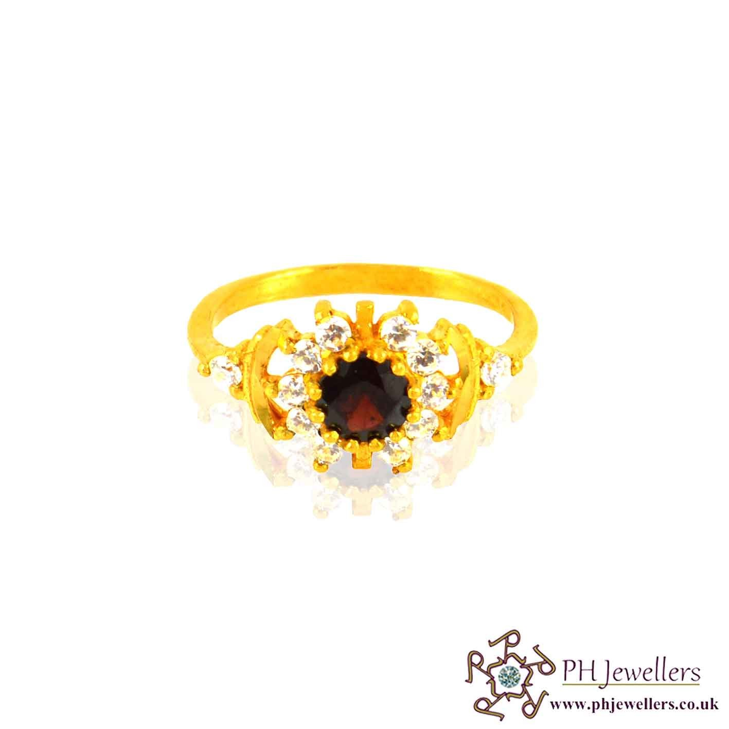 22ct 916 Hallmark Yellow Gold Round Garnet Size K,L,M Ring CZ SR14