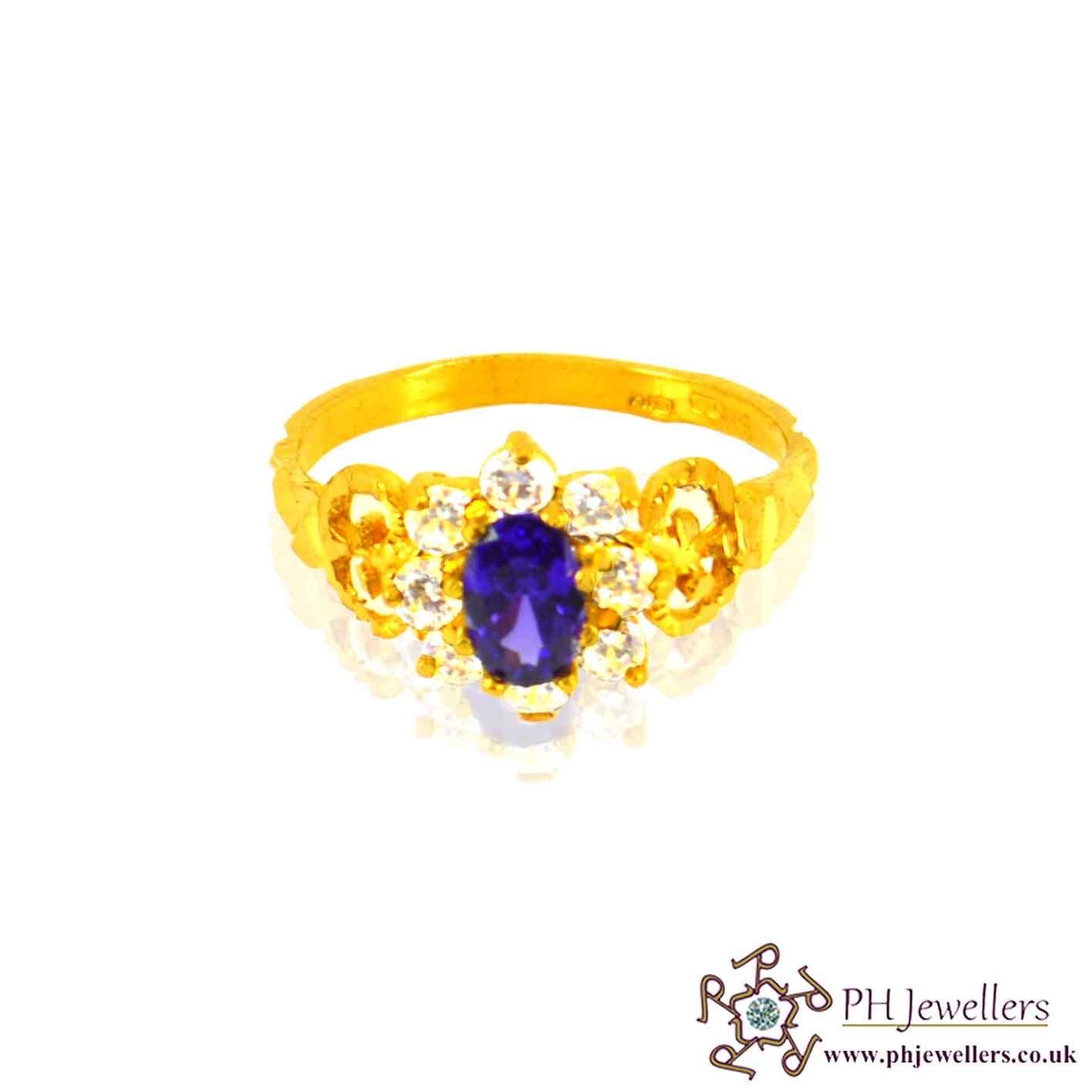 22ct 916 Hallmark Yellow Gold Round Amethist Size M,N,O Ring CZ SR15