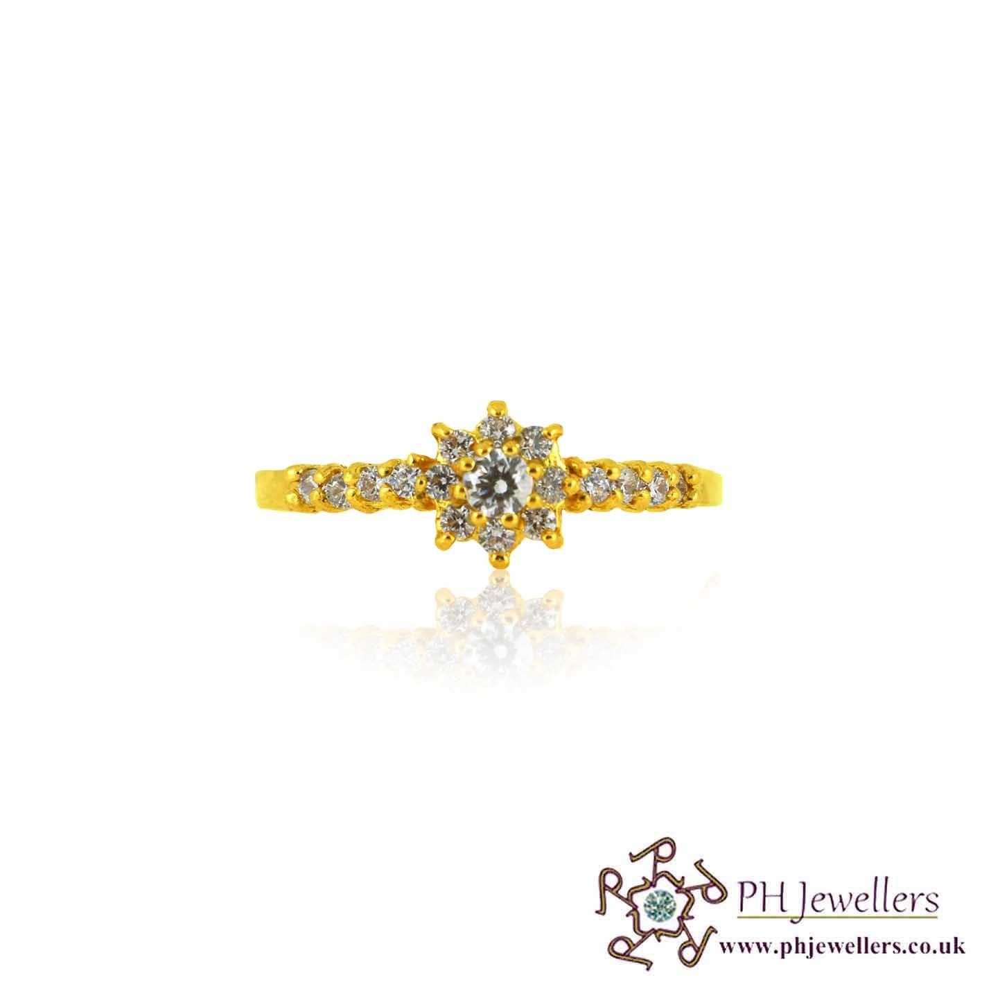 22ct 916 Hallmark Yellow Gold  White Stone Ring Size N CZ SR157