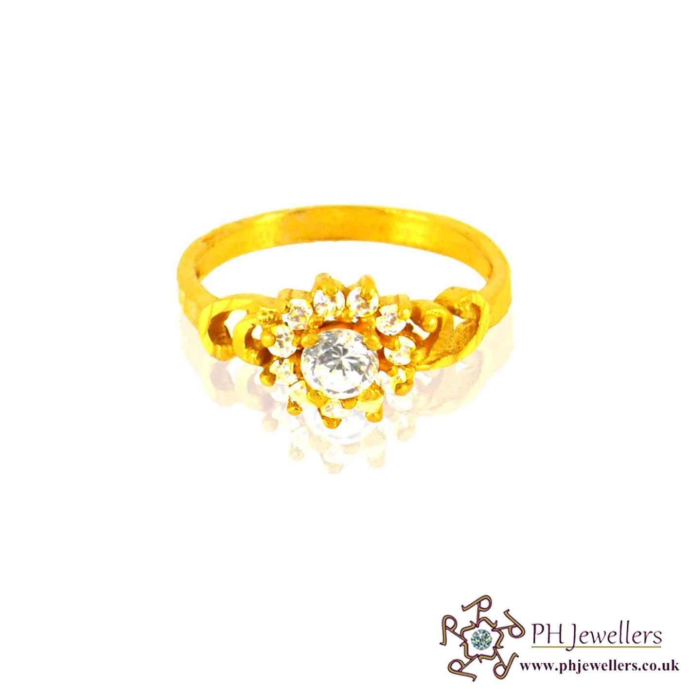 22ct 916 Hallmark Yellow Gold Round Size L,M,N Ring CZ SR16