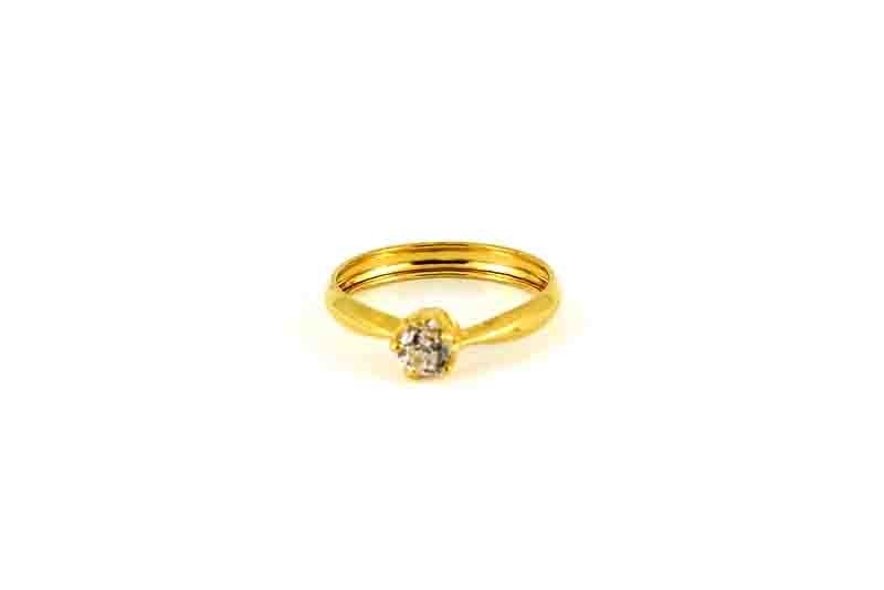 22ct  Yellow Gold Light Engagement Ring with Stones CZ Size M SR165