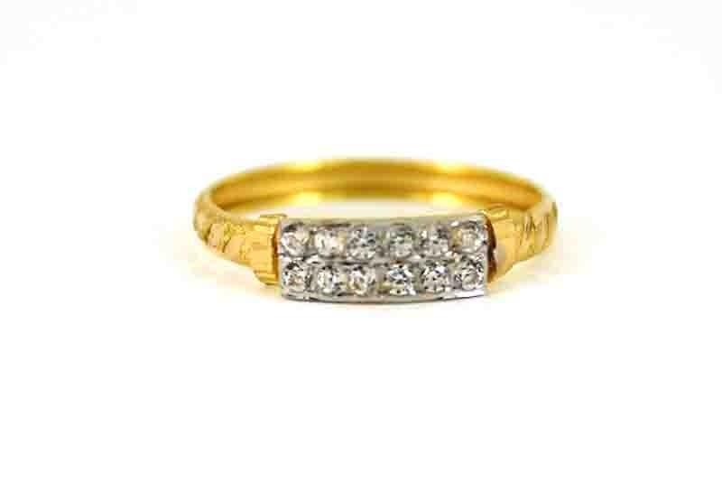 22ct  Yellow Gold Light Ring with CZ Stone Rhodium Size M  SR168