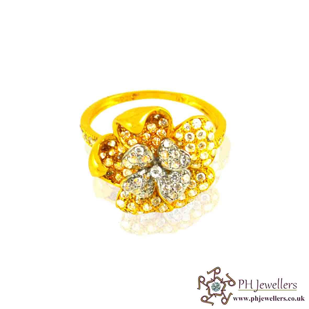 22ct 916 Hallmark Yellow Gold Flower Rhodium Size M,N Ring CZ SR17