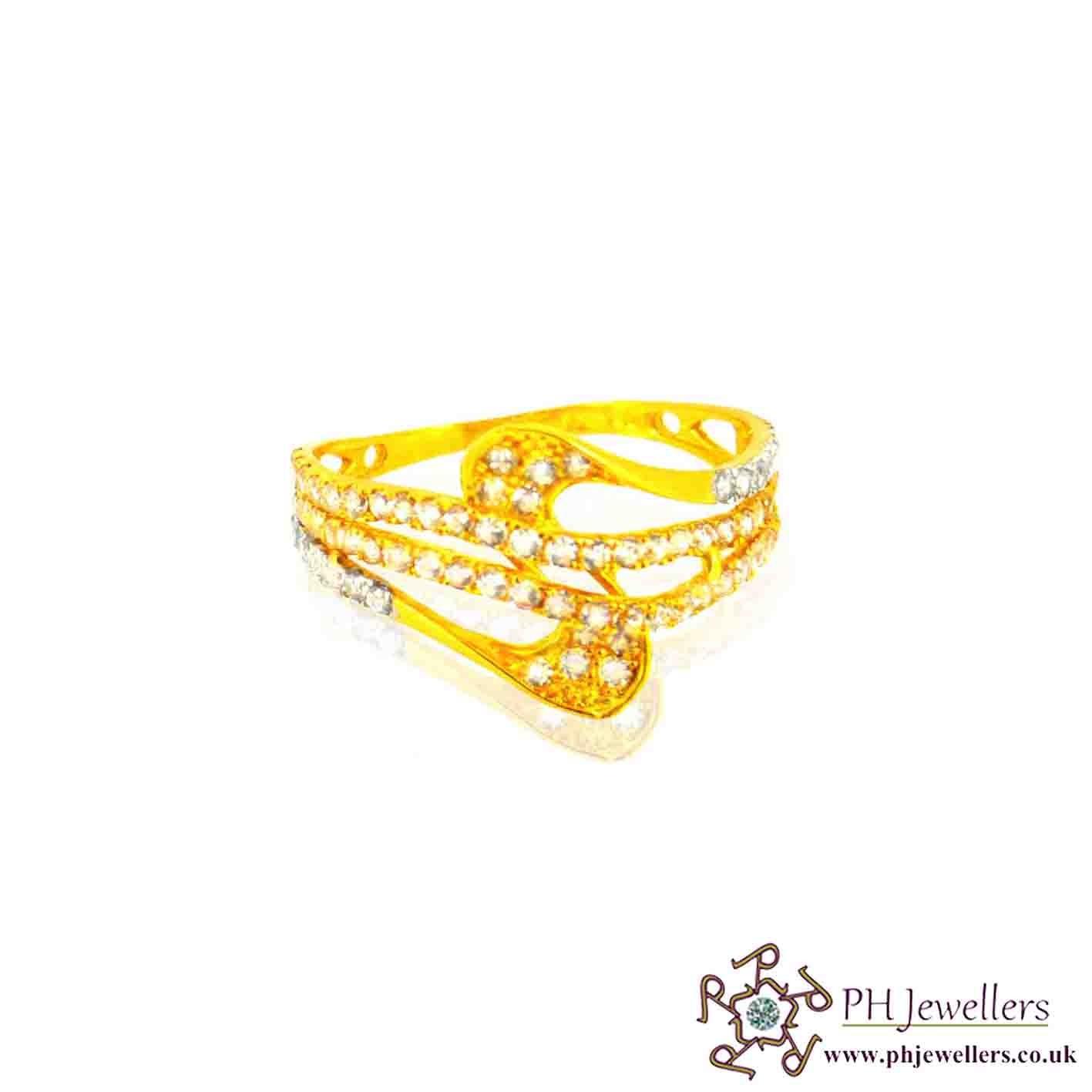 22ct 916 Hallmark Yellow Gold Rhodium Size P1/2 Ring CZ SR19