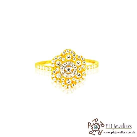 22CT 916 Hallmark Yellow Gold Size O1/2 Ring Rhodium CZ SR2