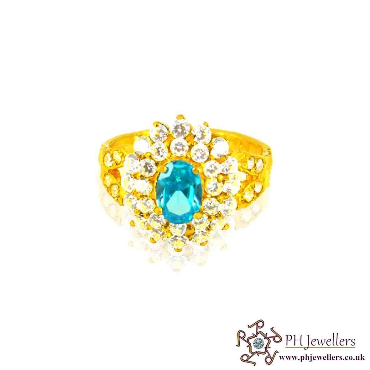 22ct 916 Hallmark Yellow Gold Cluster Oval Firoza Size L1/2,M,N Ring CZ SR20