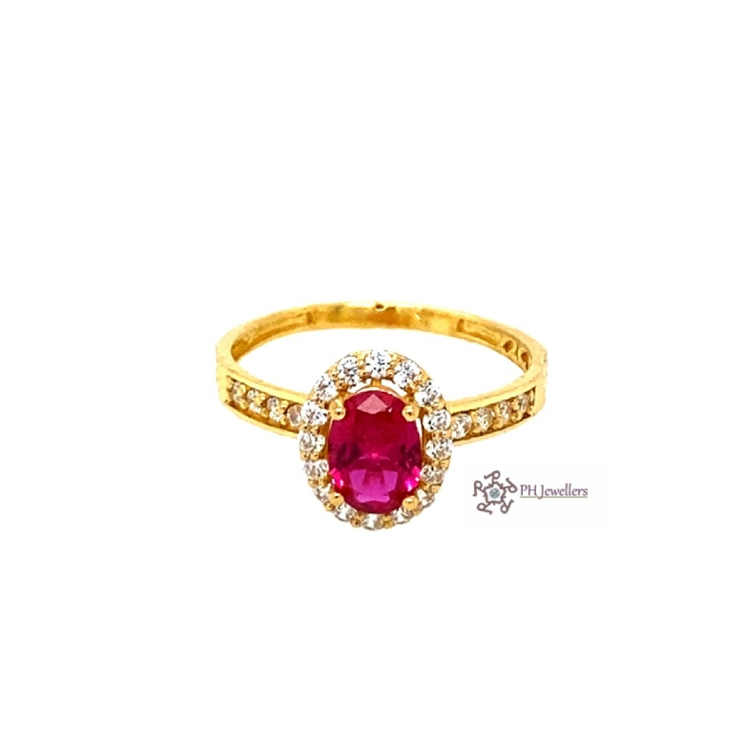 22ct 916 Indian Yellow Gold Ruby Red and white Solitaire Ring CZ Size O1/2 SR204