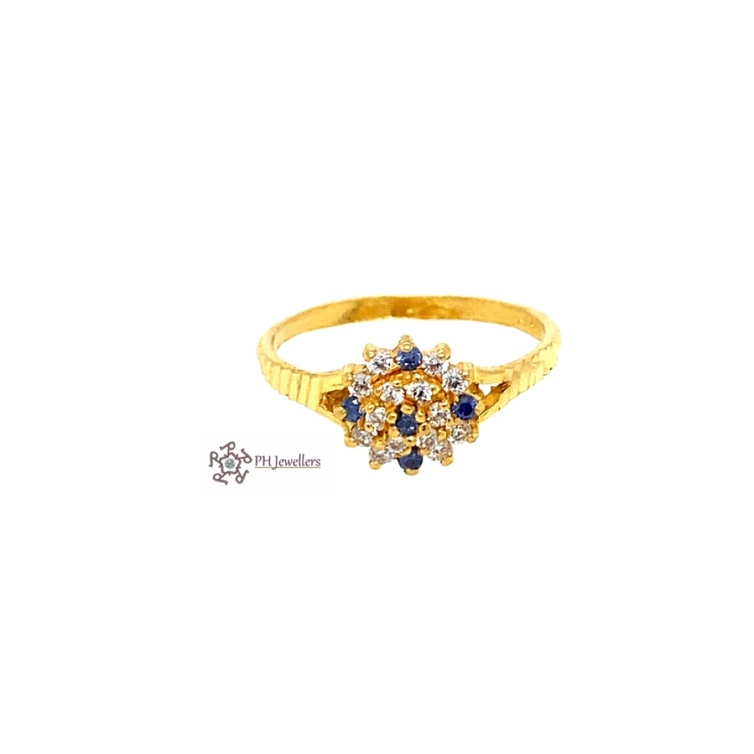 22ct 916 Indian Yellow Gold Ring with Light Blue and White CZ Size M SR206