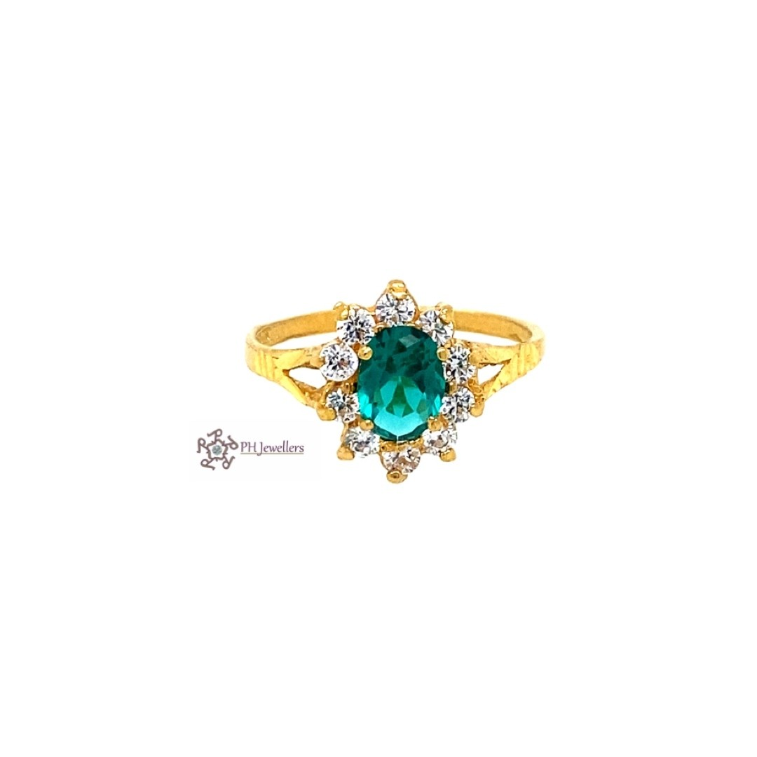 22ct 916 Indian Yellow Gold Ring with Green and White CZ Size M SR209