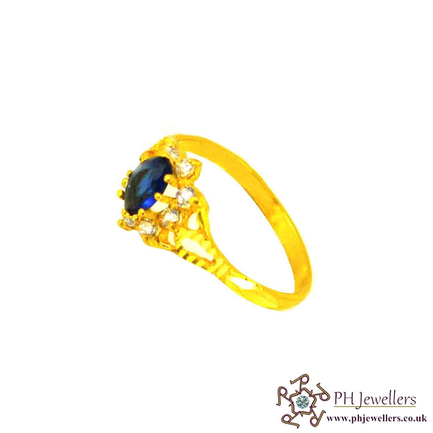 22ct 916 Hallmark Yellow Gold Cluster Oval Blue Sapphire Size M,M1/2 Ring CZ SR21