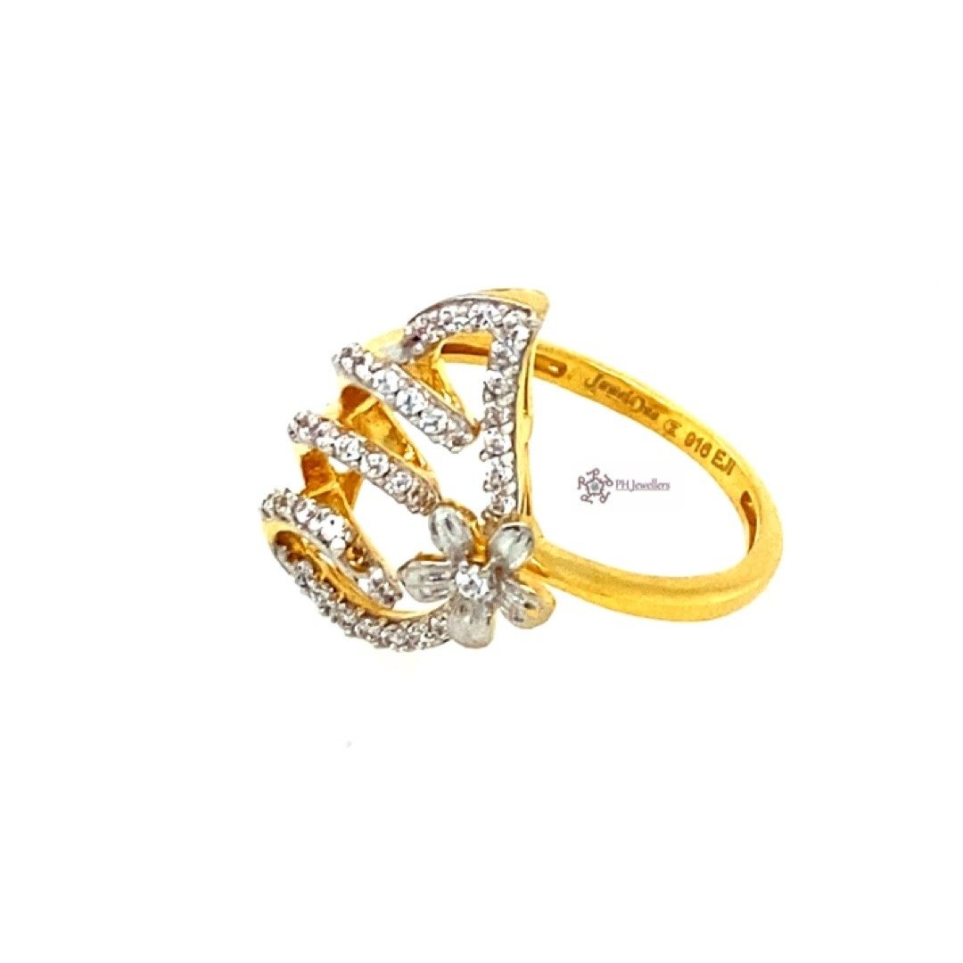 22ct 916 Indian Yellow Gold Flower Swirl Ring White CZ Size J1/2 SR213