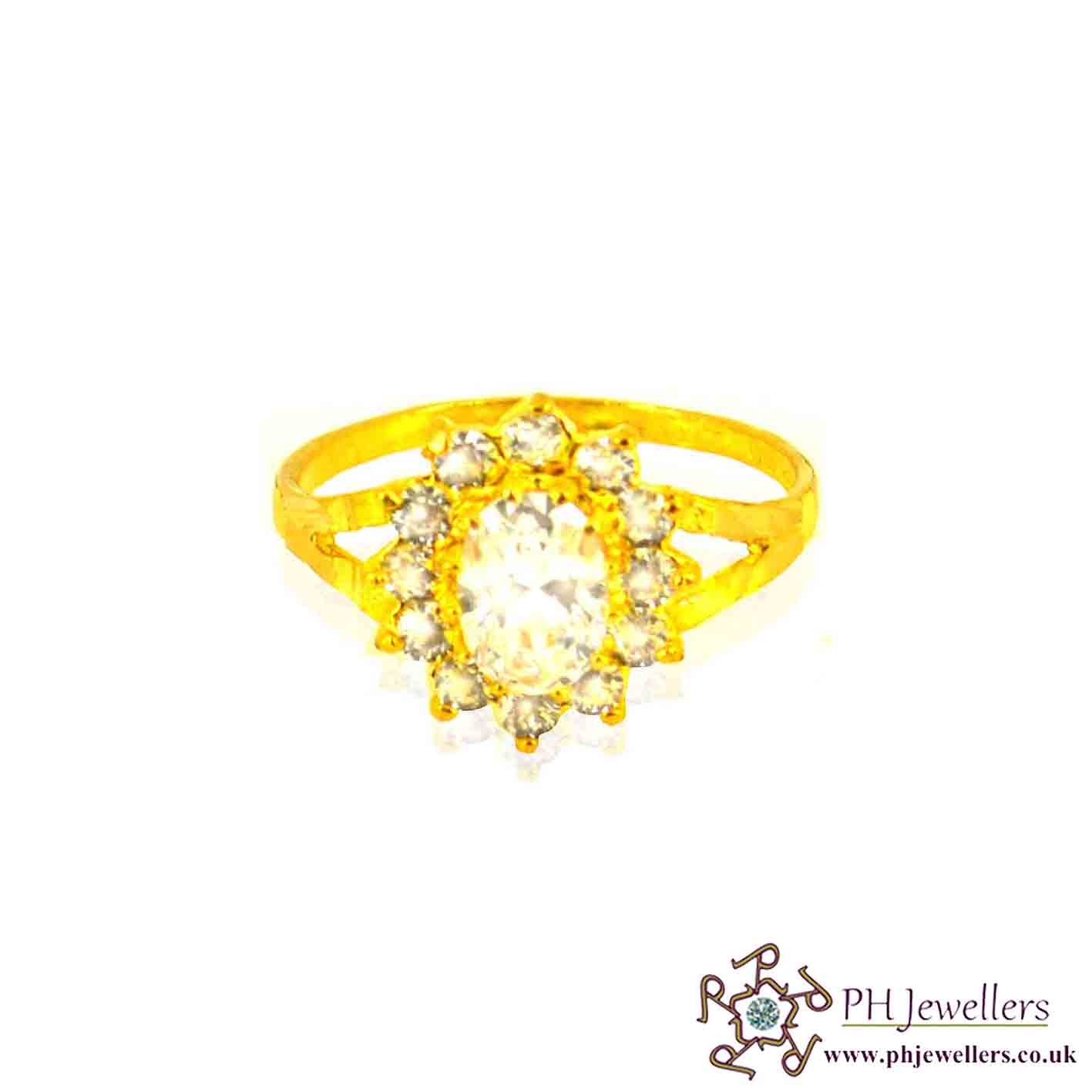 22ct 916 Hallmark Yellow Gold Cluster Oval Size M,M1/2 Ring CZ SR22
