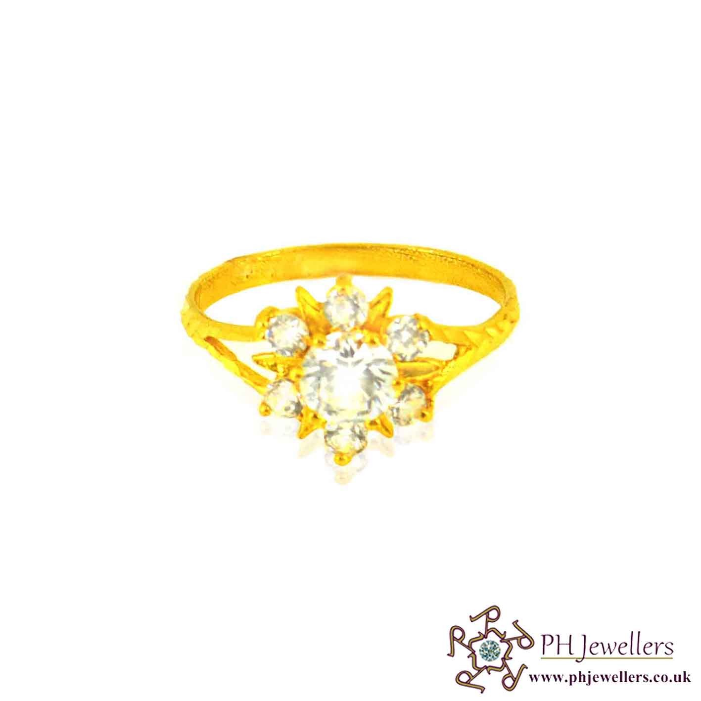 22ct 916 Hallmark Yellow Gold Flower Round Size O,O1/2 Ring CZ SR23