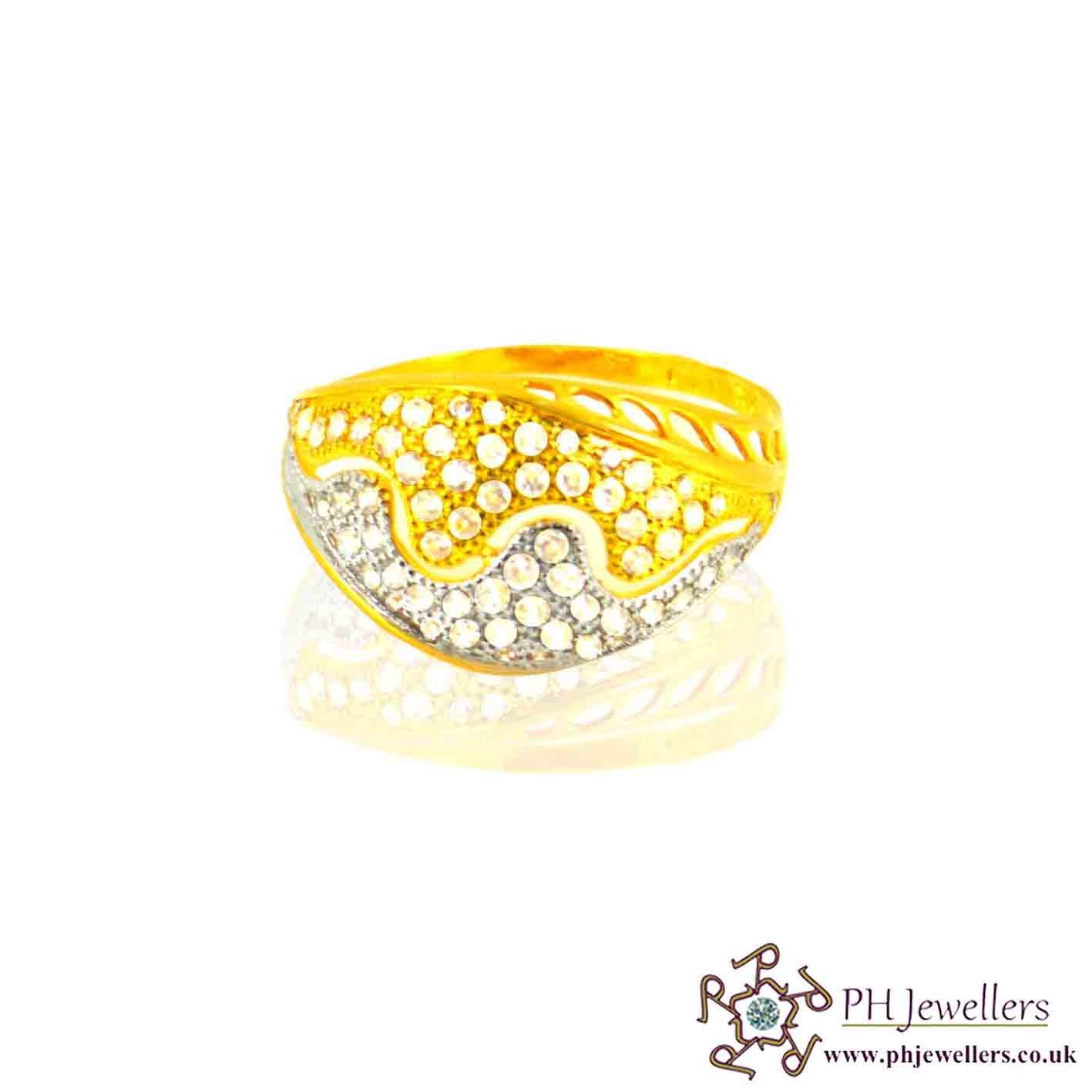 22ct 916 Hallmark Yellow Gold Rhodium Size P Ring CZ SR24