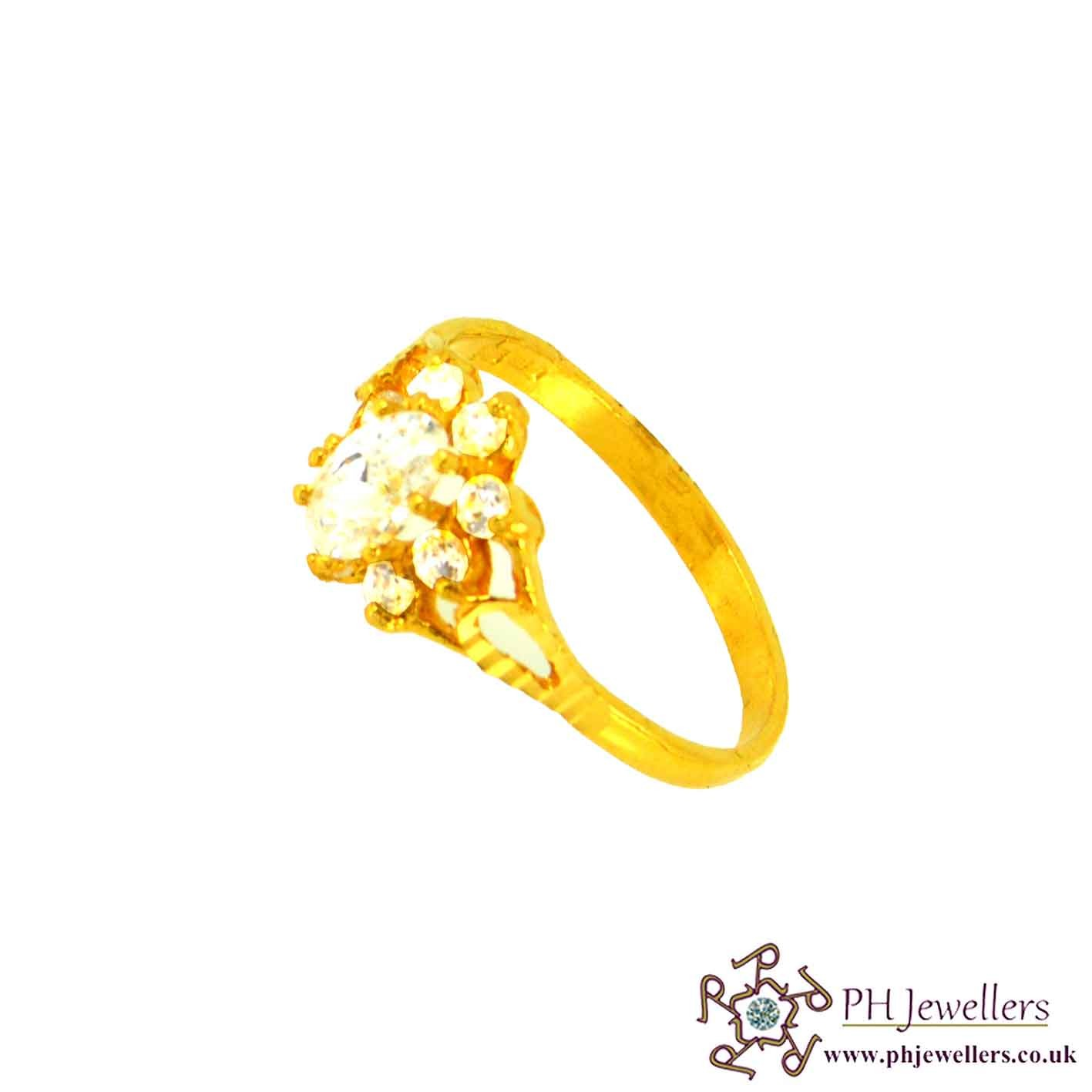 22ct 916 Hallmark Yellow Gold Cluster Oval Size M,N Ring CZ SR26