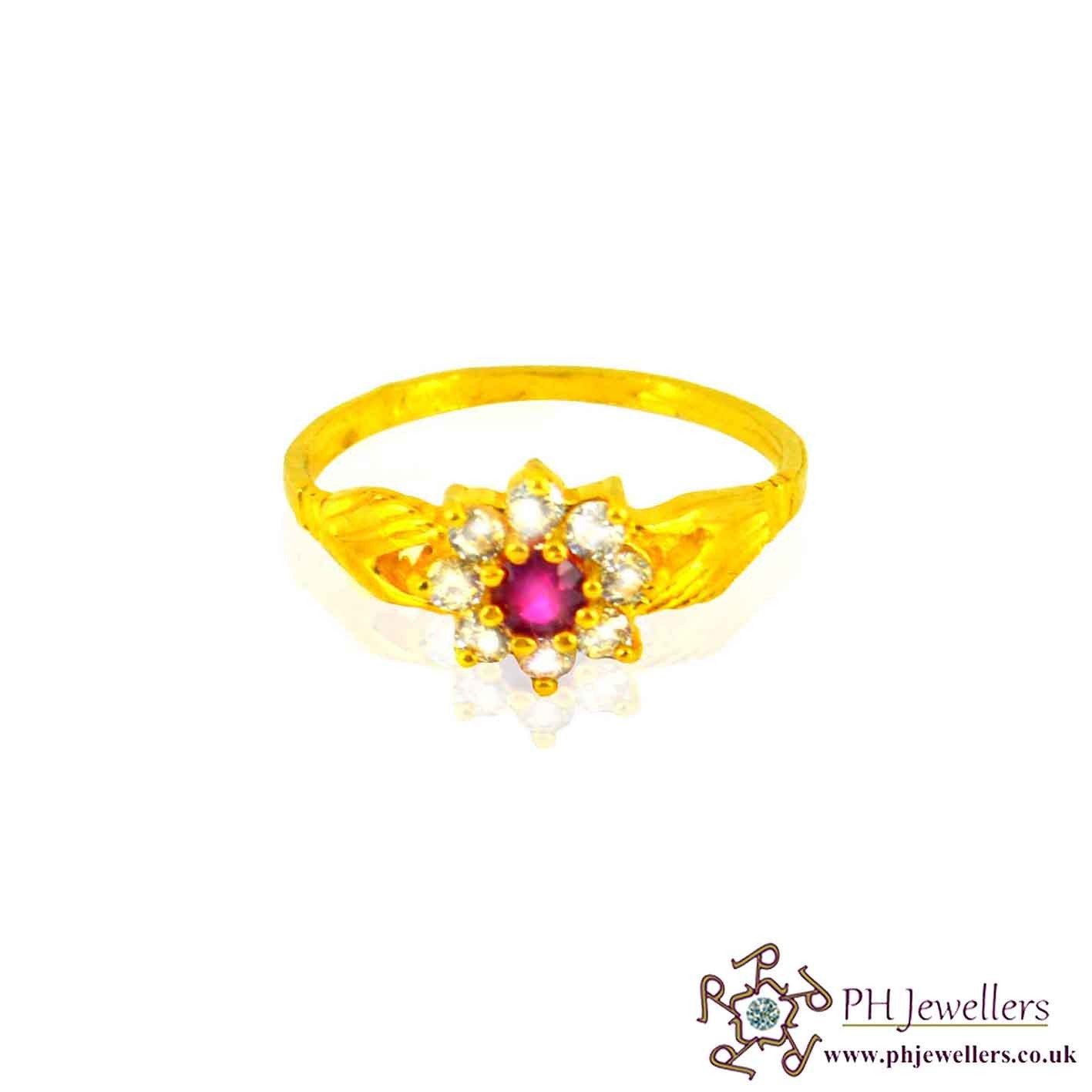 22ct 916 Hallmark Yellow Gold Cluster Round Ruby Size P,Q Ring CZ SR28