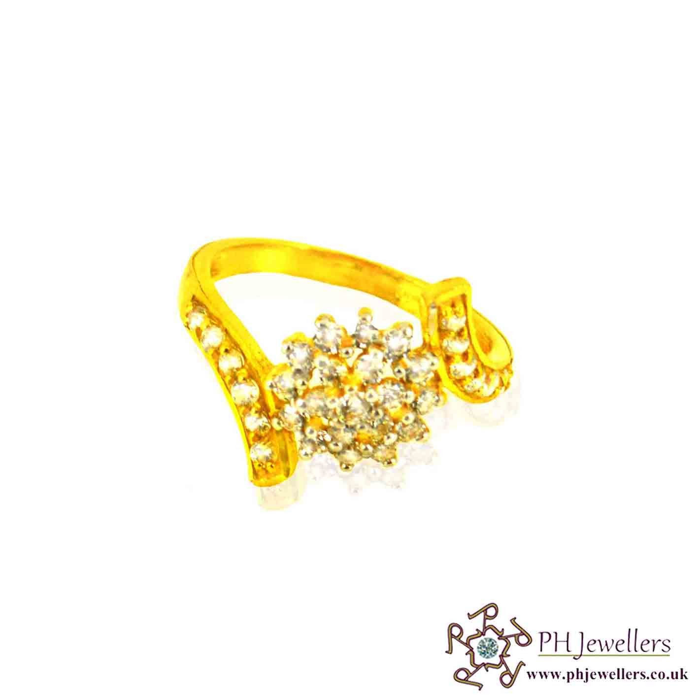 22ct 916 Hallmark Yellow Gold Cluster Size L 1/2,M,N Ring CZ SR29