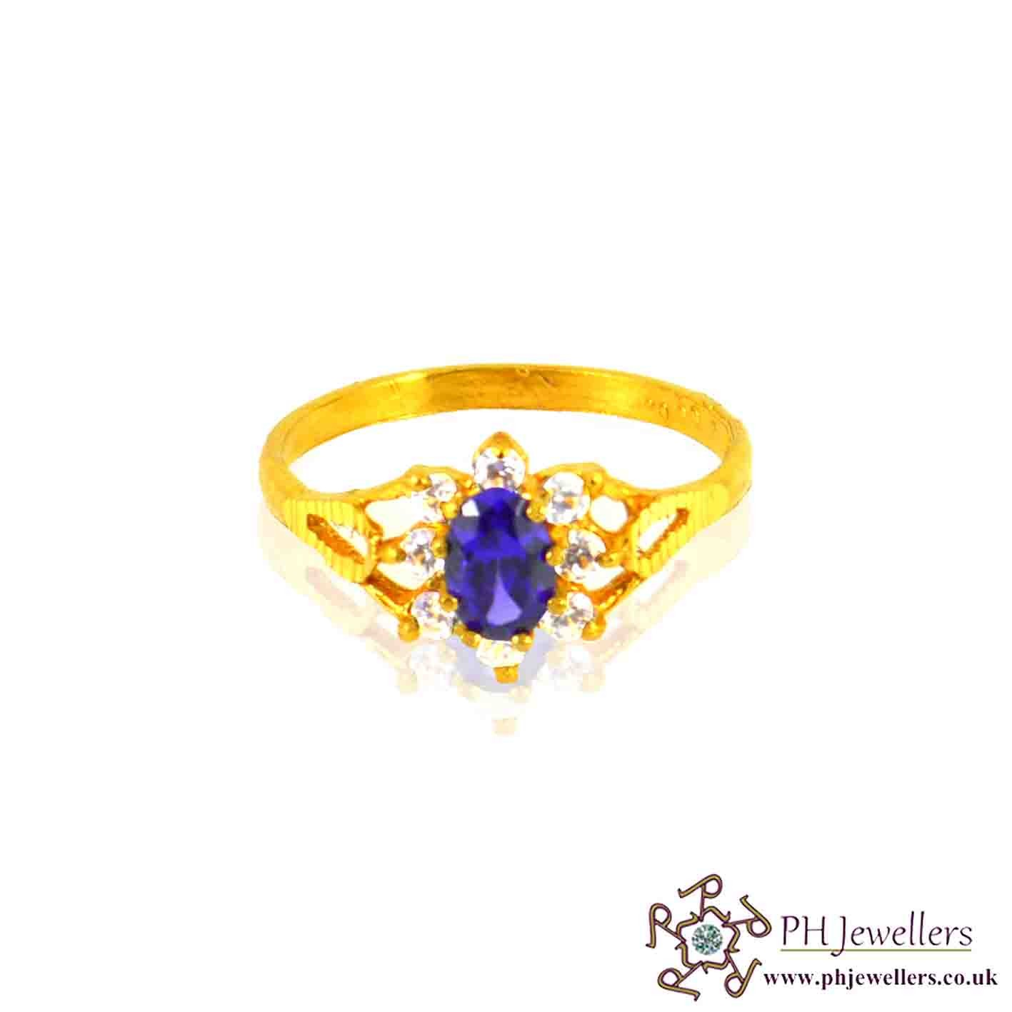 22ct 916 Hallmark Yellow Gold Cluster Oval Amethist Size L1/2,M Ring CZ SR30