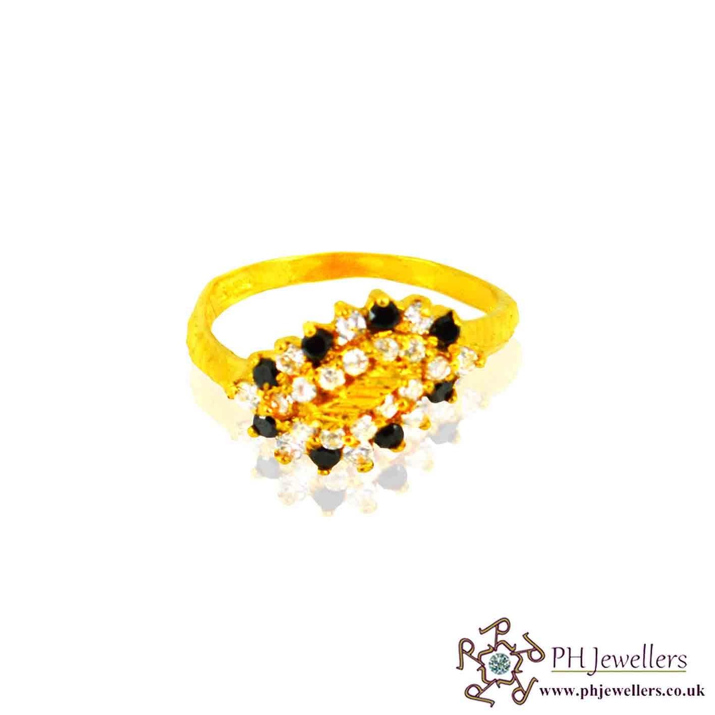 22ct 916 Hallmark Yellow Gold Black Size N,O Ring CZ SR32