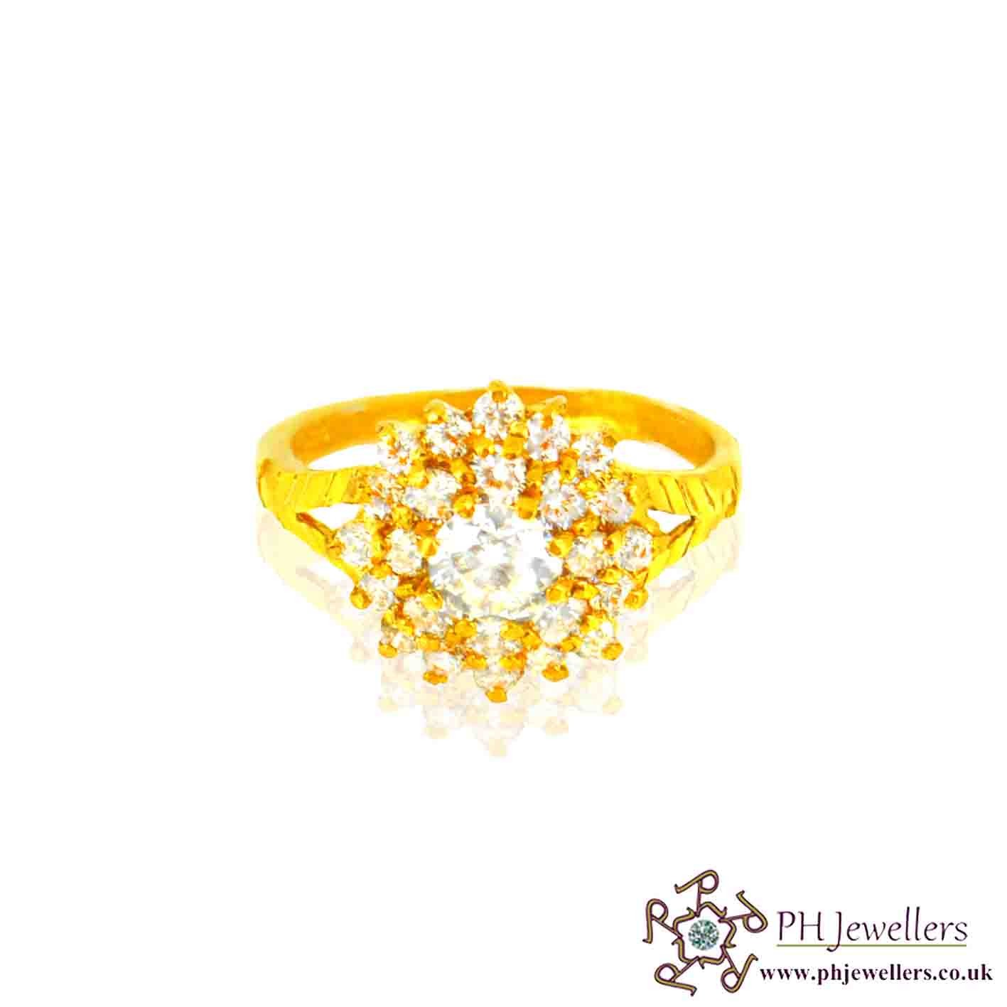 22ct 916 Hallmark Yellow Gold Cluster Round Size M,N,O Ring CZ SR34