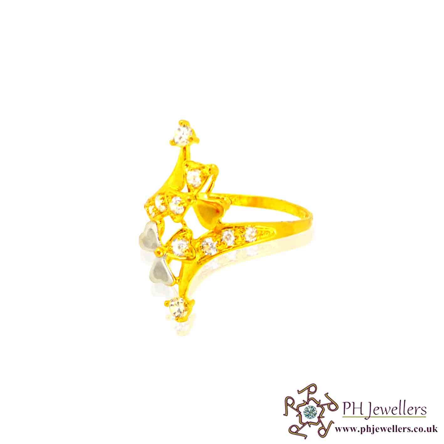 22ct 916 Hallmark Yellow Gold Long Rhodium Size O 1/2,P,Q Ring CZ SR35