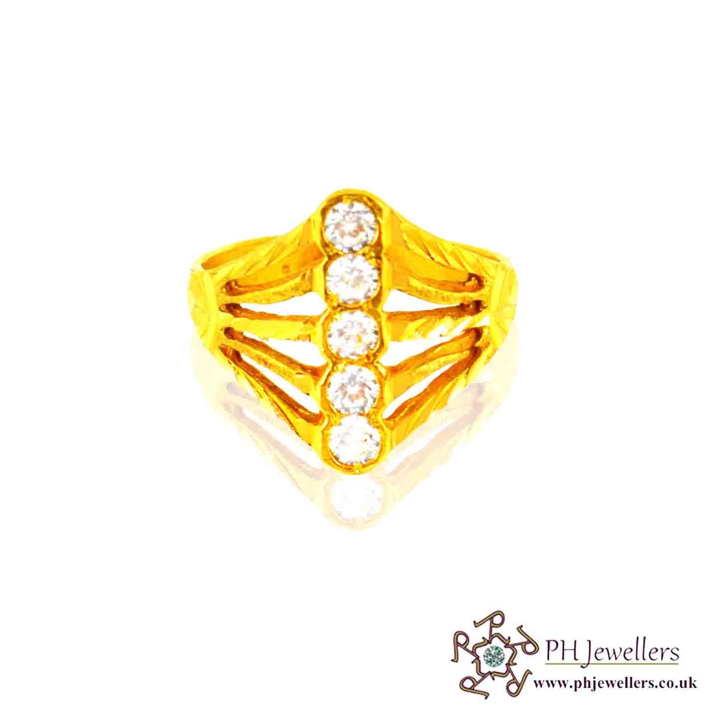 22ct 916 Hallmark Yellow Gold Long Size N Ring CZ SR36