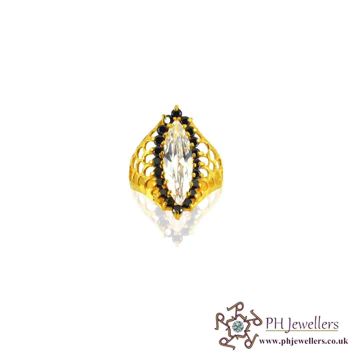 22ct 916 Hallmark Yellow Gold Fancy Marquise Size Q,R,S Ring CZ SR37