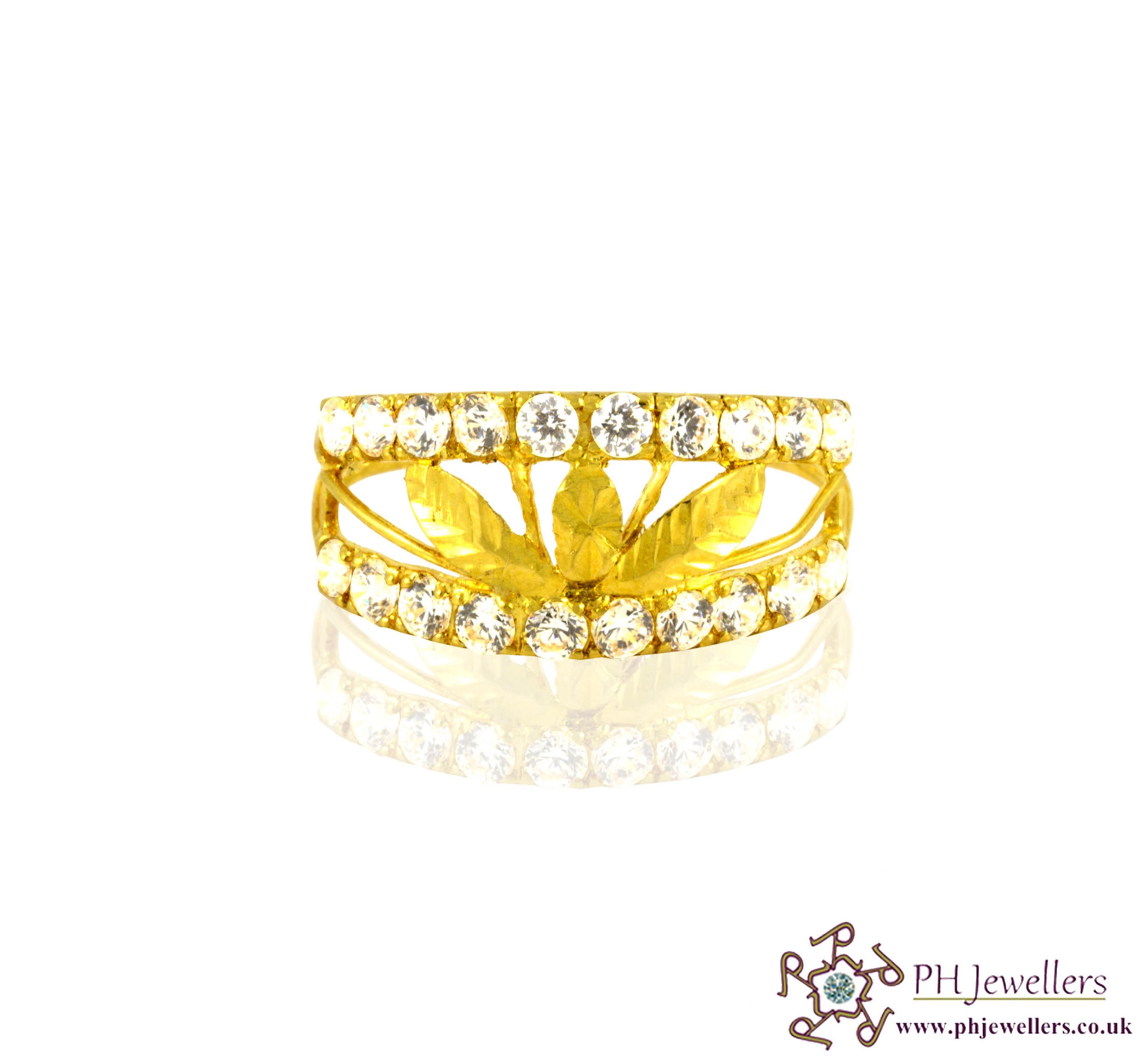 22ct 916 Hallmark Yellow Gold Ring CZ SR4