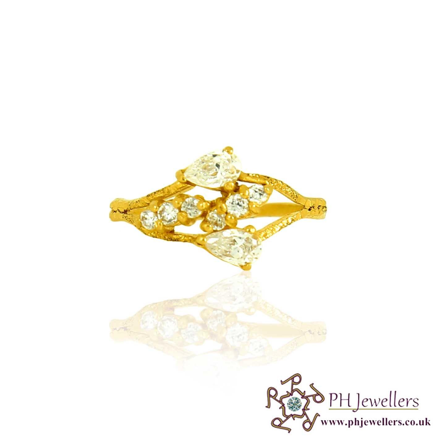 22ct 916 Hallmark Yellow Gold Size L1/2,M Ring CZ SR80